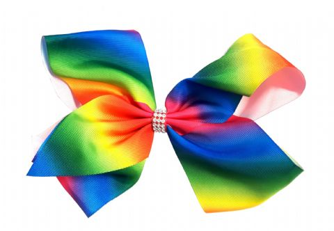 Extra Large Rainbow Print Hair Bow Boutique Girls Alligator Clip Grosgrain Ribbon Headband - 23cm